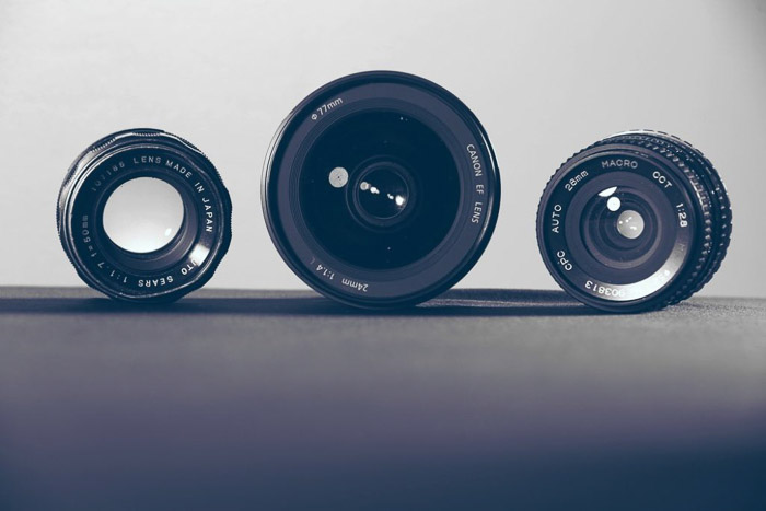 A selection of macro lenses from the Canon camera company.
