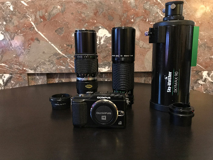 A range of Camera Equipment used to photograph the moon
