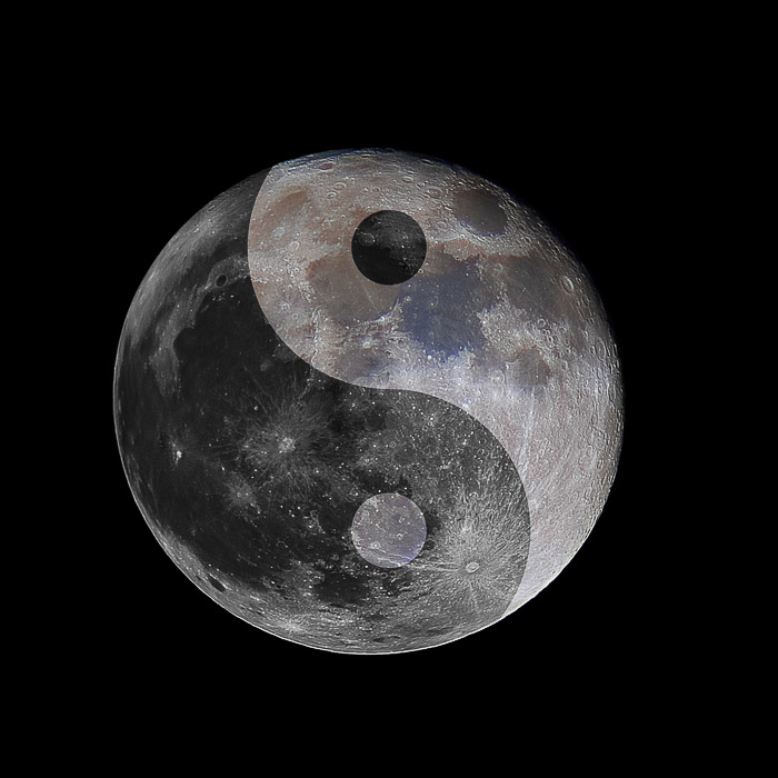 Double Exposure picture of the moon overlaying a yin and yang symbol
