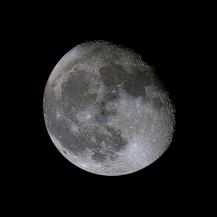 A shot of the moon showing high detail of the surface and high contrast near the terminator.