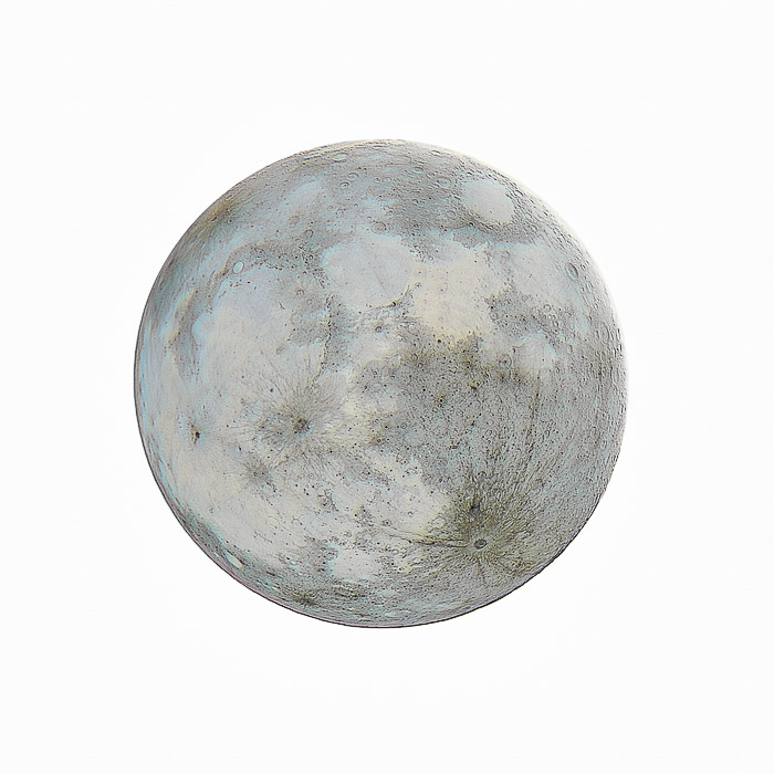 A negative shot of the moon against a white background