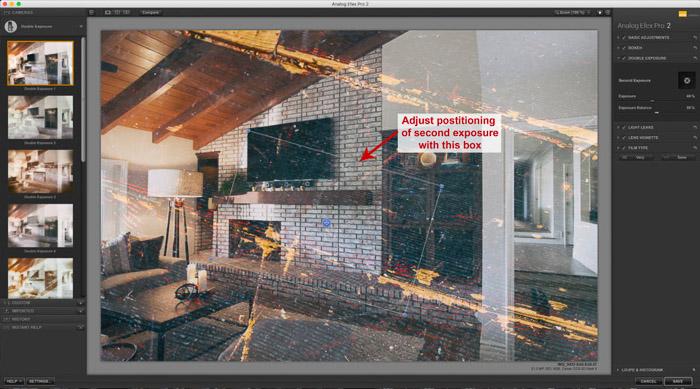Una captura de pantalla del uso de Google Nik Collection en Lightroom - Analog Efex - Efecto de doble exposición en Adobe Lightroom