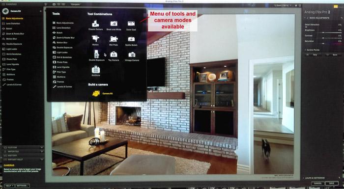 Una captura de pantalla del uso de Google Nik Collection en Lightroom - - Herramientas de Efex analógico y modos de cámara