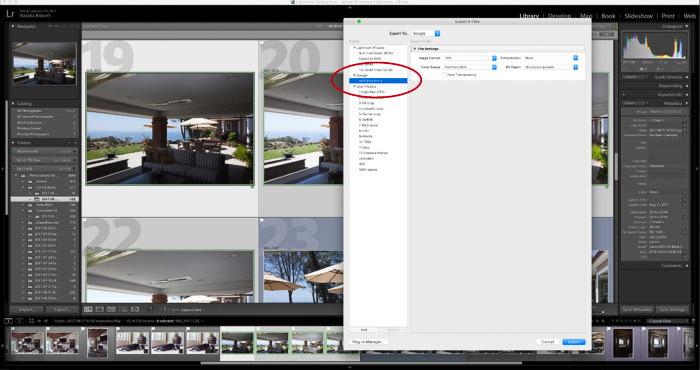 Una captura de pantalla del uso de Google Nik Collection en Lightroom: menú de exportación HDR Efex Pro, compilando varias fotos en una imagen HDR