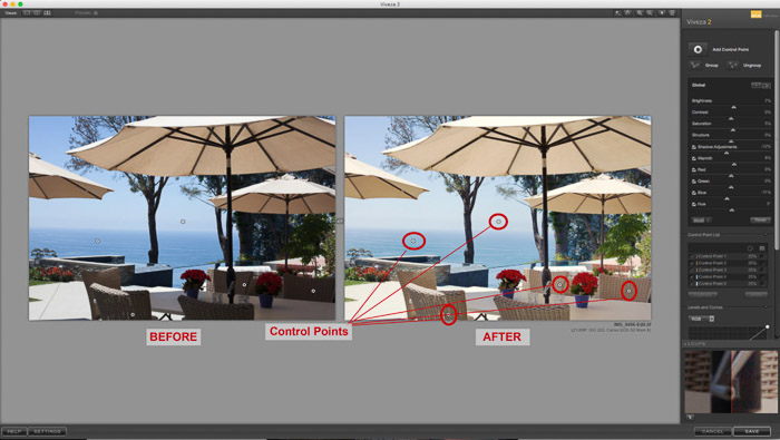 Viveza in Lightroom - Using control points to apply selective adjustments to edit photos.