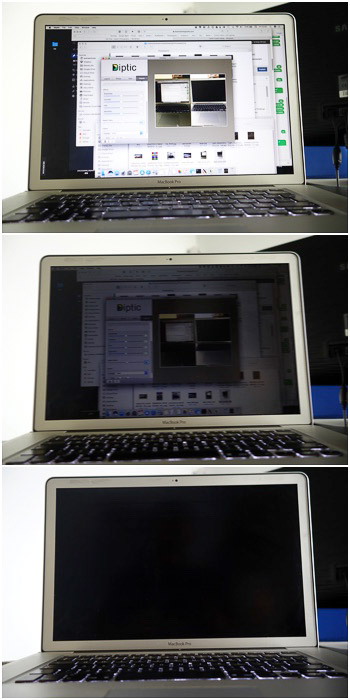 Polarizing filter over a laptop LCD screen