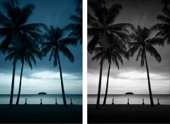Two photographs of the same beach scene. One showing as photographed, and the other showing the black and white conversion