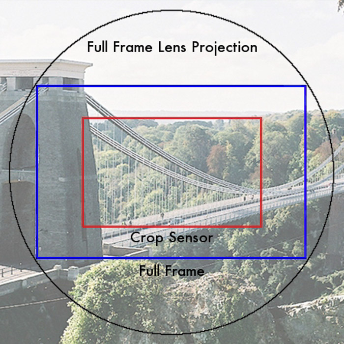 Infographic of a full frame lens projection vs. full frame and crop sensor