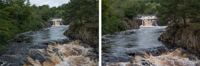 A river scene showing the difference between a full-frame and crop sensor