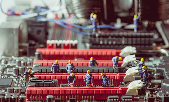 Macro image of tiny toys