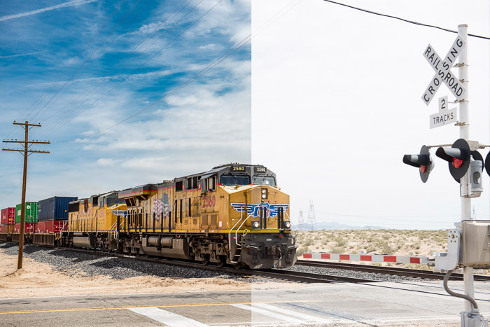 A photo of a train, split screened to highlight the difference between shooting raw vs jpeg