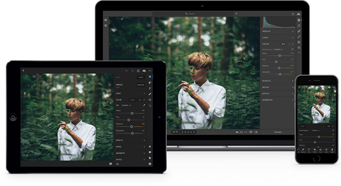 Lightroom tutorials on the screen of a tablet, laptop and smartphone
