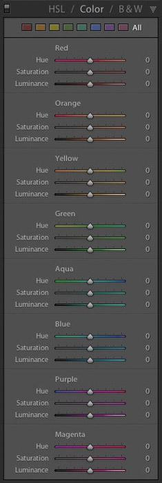 Una captura de pantalla del panel HSL de Lightroom