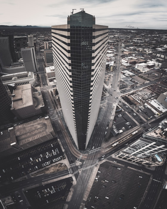 Aerial shot of a tall skyscraper - how to use lightroom