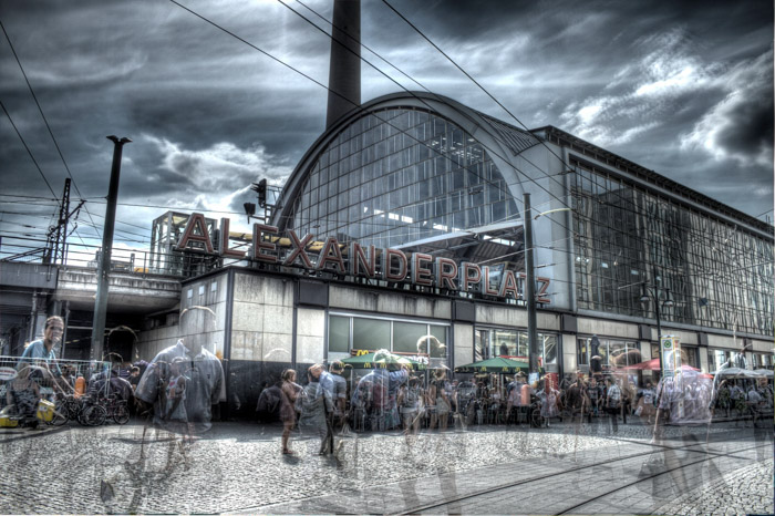 A ghostly HDR Image of people in Alexanderplatz Berlin