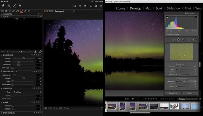 A screenshot of editing photos on both capture one and adobe lightroom
