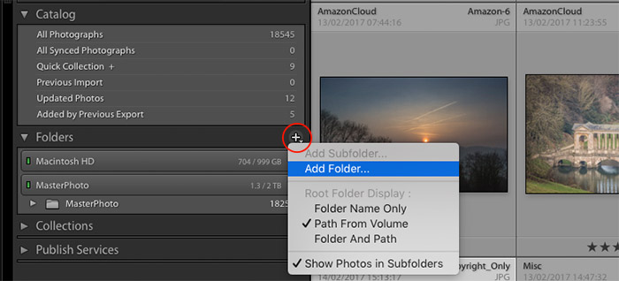 a screenshot of how to add a folder in Lightroom