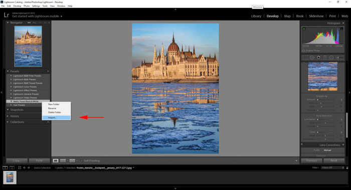 Importing presets into Lightroom