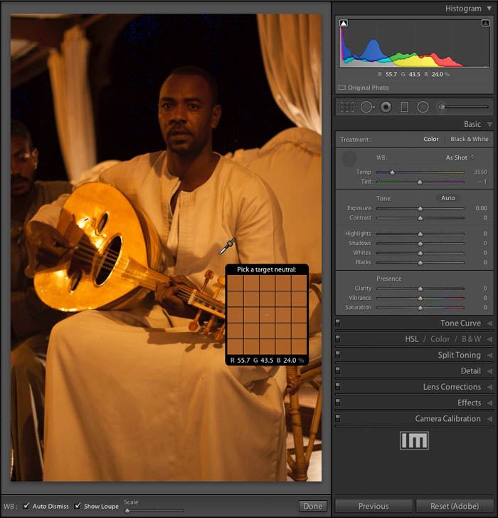 A screenshot of setting the White Balance in the Lightroom Develop Module