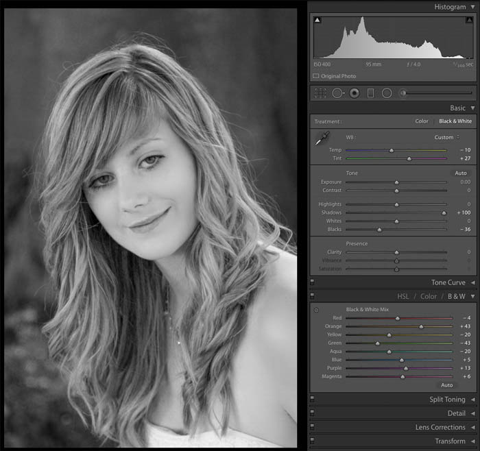 editing the black and white portrait of a girl in Lightroom