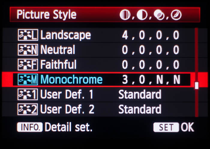 Picture style menu on a Canon camera