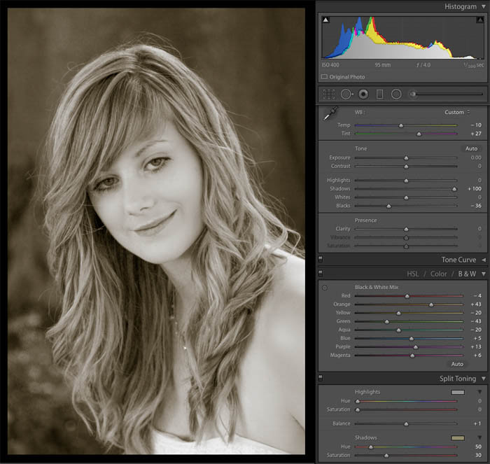 sepia portrait in Lightroom