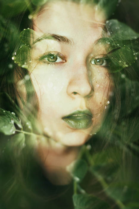 green-tinted double-exposure portrait of a young girl