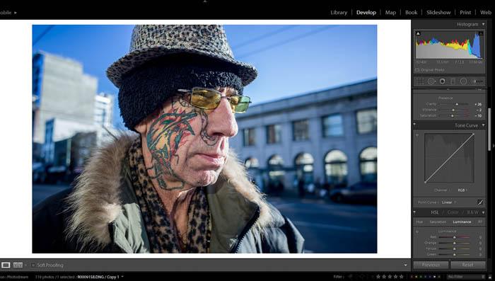 editing street photography - presence