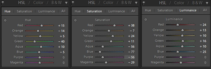 the hue, saturation and luminance features in Lightroom