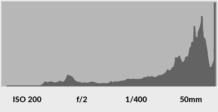 screenshot of reading a camera histogram