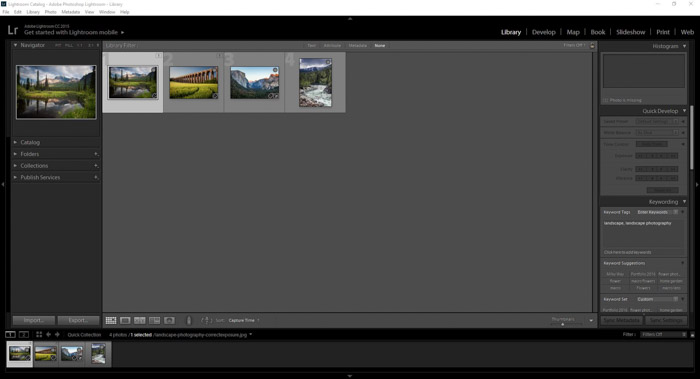 Showing images in the library module for creating Lightroom collections