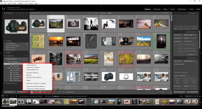 Editing Lightroom collections