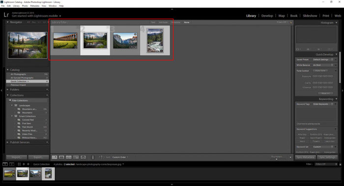 Selecting images for collections