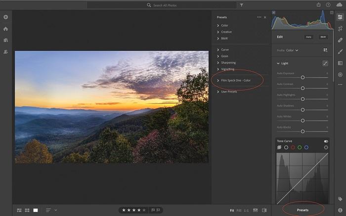A screenshot of using Lightroom presets