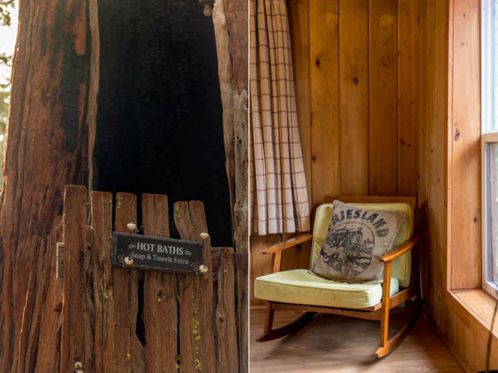 Diptych of an outdoor bathhouse on the left and a chair by a window on the right