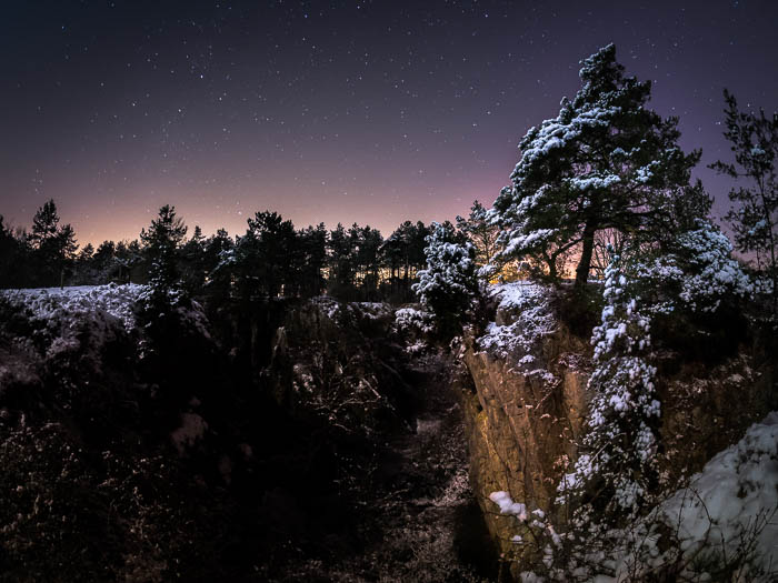 snowy landscape at night