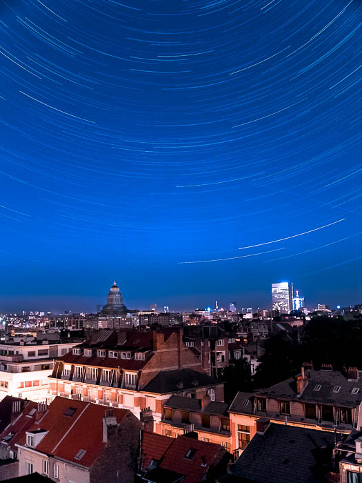 Star trails over Brussels city centre