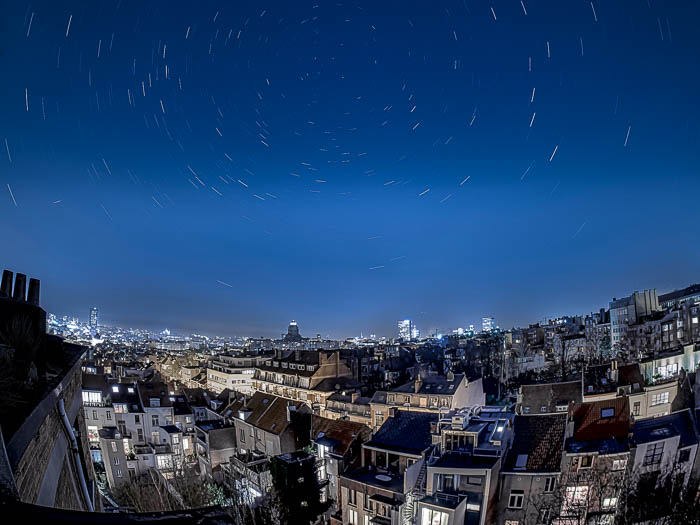 Star trails over Brussels