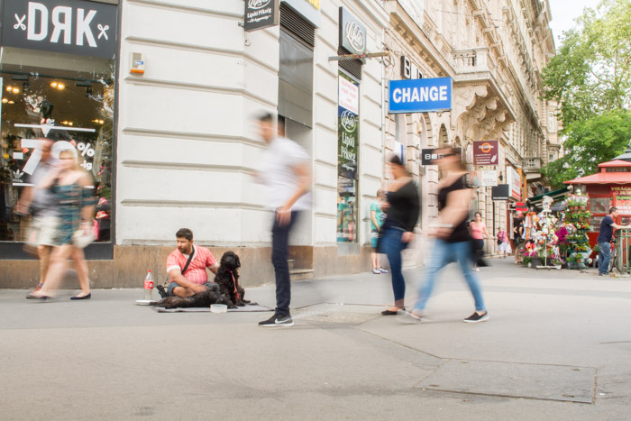 Blurry passers by in a busy street in Budapest