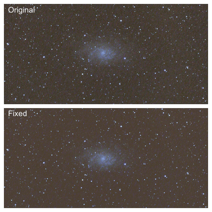 Diptych of astrophotography editing