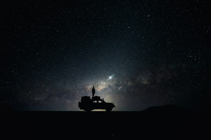 Look for creative compositions and using interesting subjects in the foreground of your astrophotography