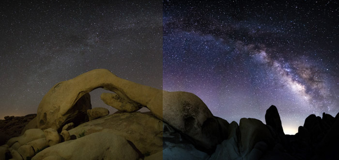 Showing a hazy sky transforming into a brilliant shot of the Milky Way in post-processing astrophotography