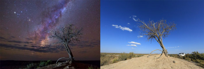 Showing the benefits of scouting the location in the daytime for better astrophotography