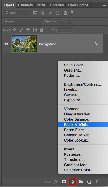 drop-down menu for black and white editing in photoshop