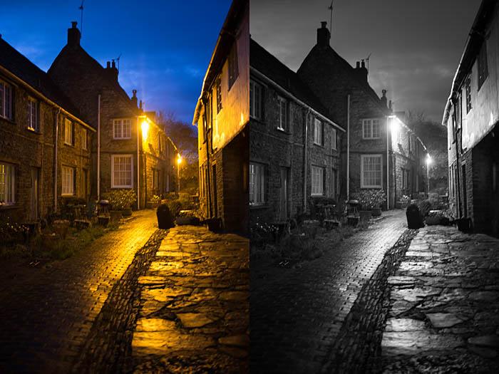 Conversión en escala de grises que muestra cómo editar fotografías en blanco y negro en Photoshop