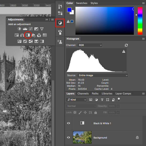 editing a seascape to black and white in photoshop