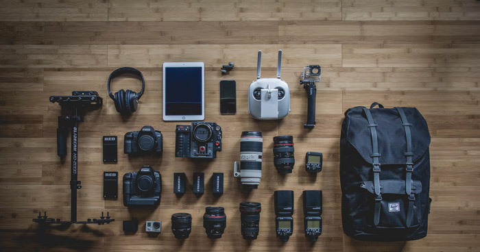 A selection of different pieces of camera equipment used for boudoir photography