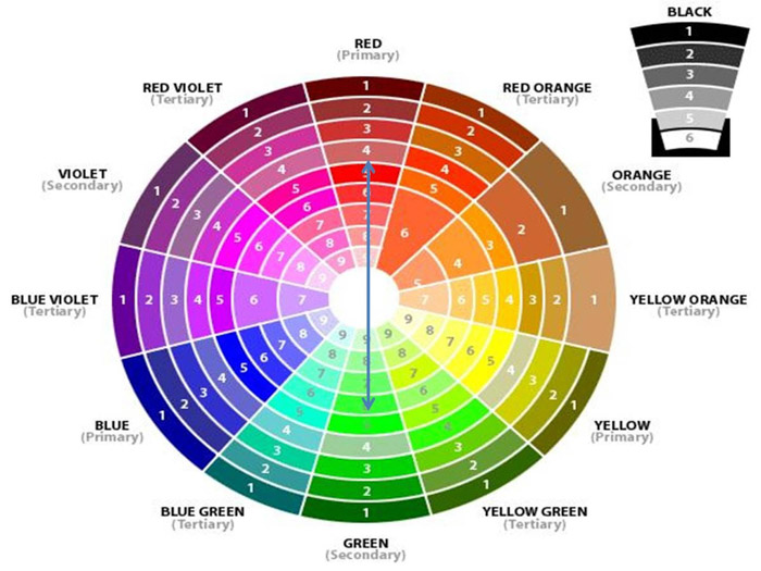 Using the colour wheel to find complimenting colours in boudoir photography