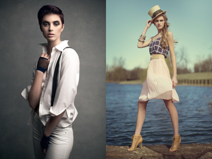 Two examples of poses for fashion photography