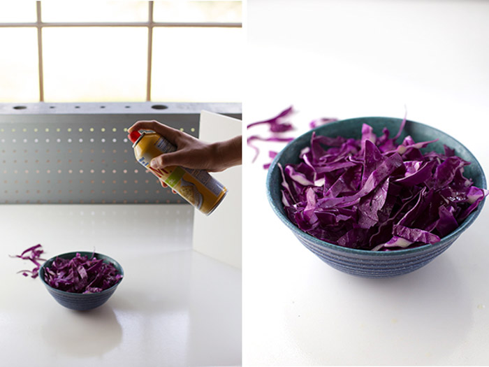 Using accessories such as spray on oil to boost your food photography